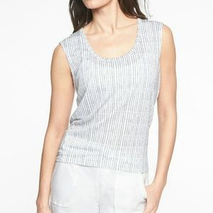 Athleta Breezy Muscle Print Tank Gray and White